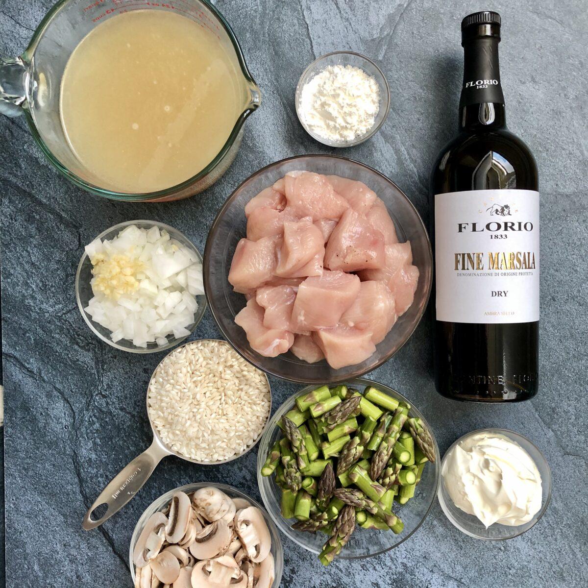 Raw chicken breast, marsala wine, sliced mushrooms, asparagus, arborio rice, chicken stock and marscapone cheese